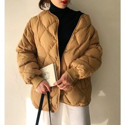 ダウンコート ダウンジャケット ノーカラー キルティングジャケット コート スタンドカラー 軽量 薄手 シンプル カジュアル 膝上丈 秋冬