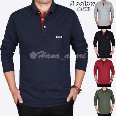 ポロシャツ メンズ トップス 大きいサイズ 長袖 ファッション 純色 トレンド ゴルフウェア おしゃれ スポーツ 春秋 ゴルフ シャツ 紳士服 カジュアル 5色選べる