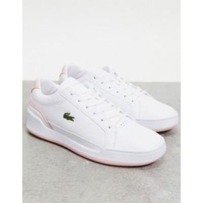 ラコステ レディース スニーカー シューズ Lacoste Challenge cupsole sneakers in white with pink trim Wht/lt pnk