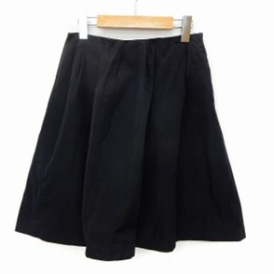 【中古】ロッソ ROSSO アーバンリサーチ スカート フレア 膝丈 無地 シンプル サイドジップ 36 ブラック /ST34
