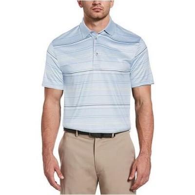 ピージーエーツアー PGA TOUR メンズ ポロシャツ トップス Striped Polo Shirt Blue Fog