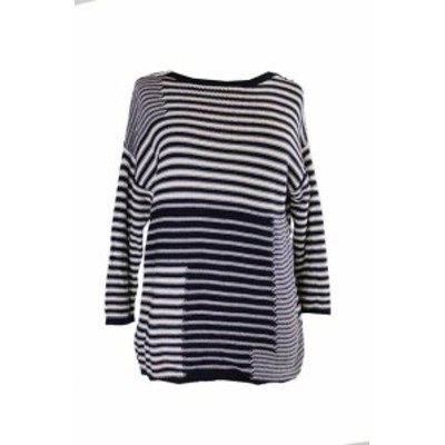 American  ファッション トップス American Living Navy White Boat Neck Striped Sweater L