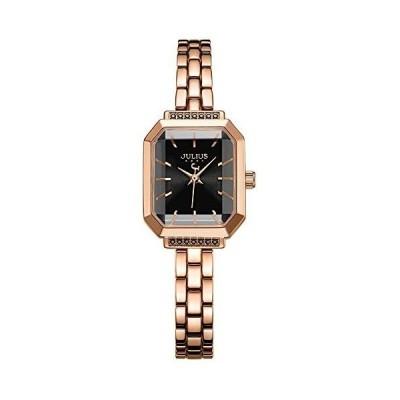 JULIUS JA-1064E 女性の腕時計ブラックダイヤル日本製クォーツムーブメント角型ケースステンレススチールウォッチ