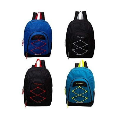 17 Inch Bulk Premium Bungee Sport Backpack in 4 Assorted Colors - Wholesale Case of 24 Bookbags 並行輸入品