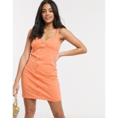 エイソス ミディドレス レディース ASOS DESIGN button through cupped dress in apricot エイソス ASOS