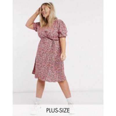 ニュールック New Look Plus レディース ワンピース ラップドレス ミニ丈 New Look Curve puff sleeve mini wrap dress in white pattern