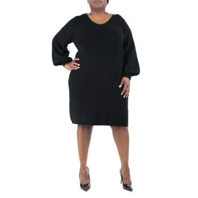 ニナレオナルド レディース ワンピース トップス Balloon Sleeve V-Neck Ribbed Dress BLACK