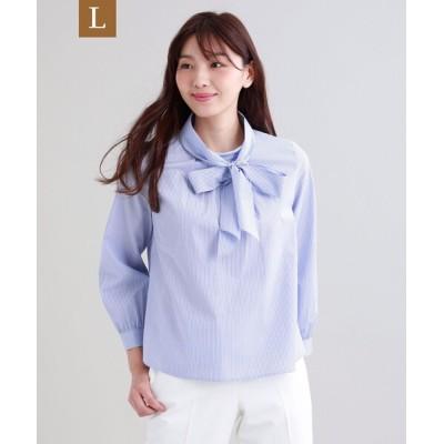 シャツ ブラウス 【L】【ウォッシャブル】ストライプシャツ