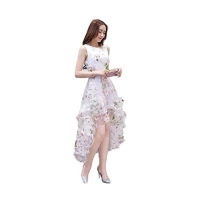 [jiroo] レディース ワンピース ドレス アシンメトリー オーガンジー フレア 結婚式 二次会 パーティー 披露宴 (ピンク L)