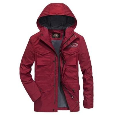 ジャケット メンズ フード付き 英文字  静電気防止 アウター コート カジュアル 保温防寒