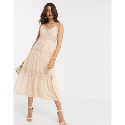 エイソス ミディドレス レディース ASOS DESIGN button through lace insert cami midi dress in peach エイソス ASOS