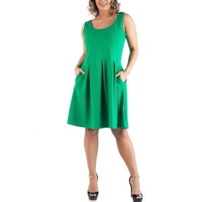 24セブンコンフォート ワンピース トップス レディース Women's Plus Size Sleeveless Dress Green
