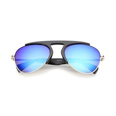zeroUV - Bold Brow Bar Keyhole Nose Bridge Colored Mirror Lens Aviator Sunglasses 56mm (Matte Black-Gold/Blue Mirror)【並行輸入品】