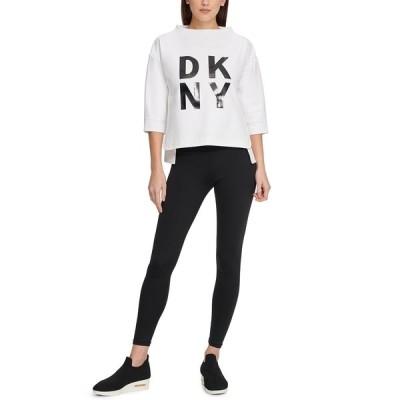 ダナ キャラン ニューヨーク カットソー トップス レディース Sport Stacked-Logo Sweatshirt Wht/black
