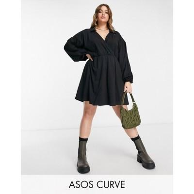 エイソス ASOS Curve レディース ワンピース ラップドレス ミニ丈 シャツワンピース ワンピース・ドレス Curve mini wrap shirt dress in black ブラック