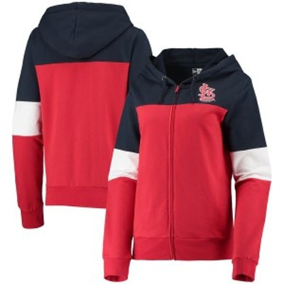 ニューエラ レディース パーカー・スウェット アウター St. Louis Cardinals New Era Women's Colorblock French Terry Full-Zip Hoodie