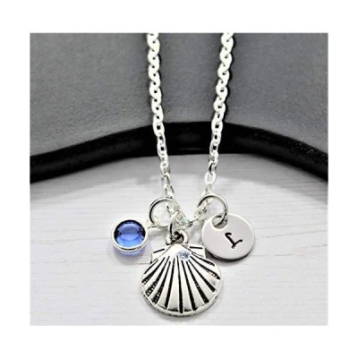 Silver Clam Shell Necklace - Seashell Jewelry for Women & Girls - Personalized Beach Jewelry- Custom Birthstone and Initial