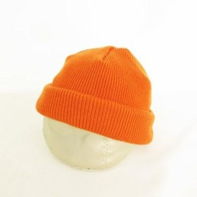 【中古】ラカル RACAL ニットキャップ ロールアップ 帽子 Made In Japan 日本製 オレンジ メンズ