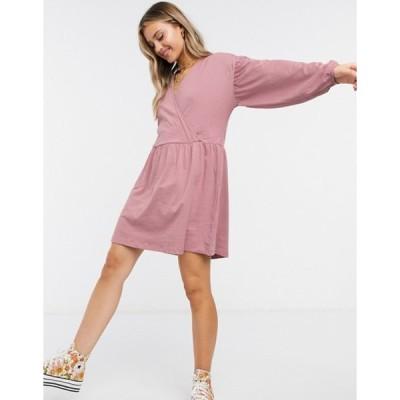 エイソス レディース ワンピース トップス ASOS DESIGN wrap front long sleeve smock dress in dusty purple