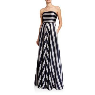 ホルストンヘリテイジ レディース ワンピース トップス Tricolor Stripe Print Duchess Satin Strapless Gown