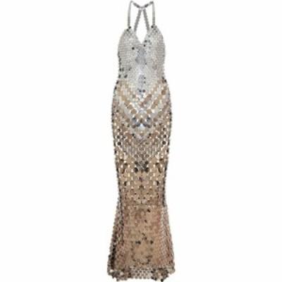 パコラバンヌ Paco Rabanne レディース パーティードレス ワンピース・ドレス Embellished gown Silver/Gold