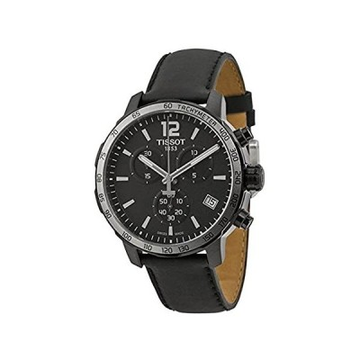 Tissot Quickster Chronograph Black Dial Black Leather Mens Watch T095417360 好評販売中