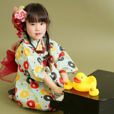 芸艸堂 UNSODO 子供浴衣 4点セット(浴衣・帯2本・下駄)椿 水色系