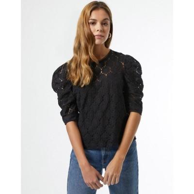 ミス セルフリッジ Miss Selfridge レディース ブラウス・シャツ トップス black lace puff blouse ブラック