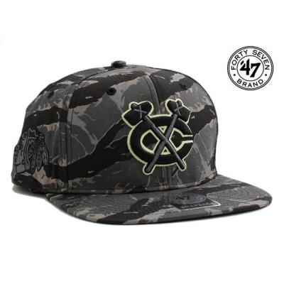 47ブランド スナップバックキャップ 帽子 47BRAND メンズ レディース NHL シカゴ ブラックホークス 迷彩 gy ptn