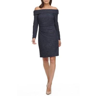 エリザジェイ レディース ワンピース トップス Petite Glitter Off-The-Shoulder Sheath Dress