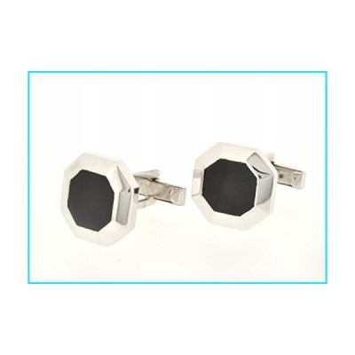 14K White Gold Onyx Cuff Links【並行輸入品】