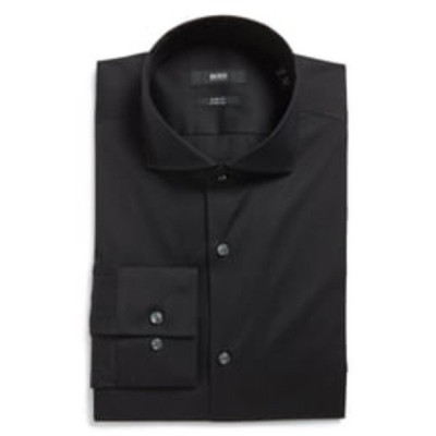 ボス シャツ トップス メンズ Jason Slim Fit Solid Cotton Blend Dress Shirt Black