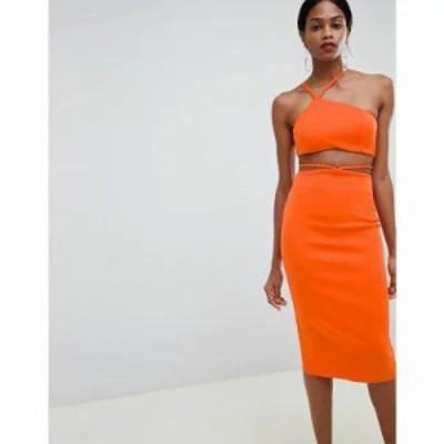 エイソス ボディコンドレス Super Cut Out Bodycon Midi Dress Orange