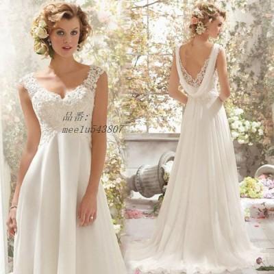 ウエディングドレス レース Vネック ノースリーブ ホワイトドレス 結婚式 撮影 花嫁 披露宴 ドレス 背開き ロングドレス ブライダルドレス Aライン