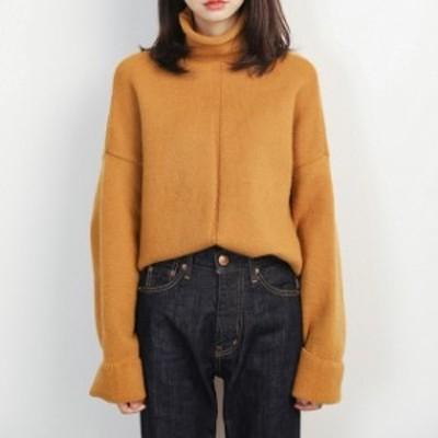 人気 売れ筋 タートルネック  セーター ニットセーター ゆったり シンプル あったか 冬素材 デイリー ボリューム ガーリー レディース