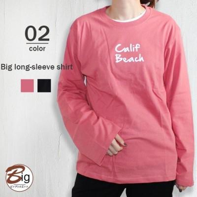 レディース Tシャツ BIGシルエット ビッグシルエット ロンT ティーシャツ 長袖 BIGTシャツ ゆったり プリント 綿100% カジュアル 韓国 849-17