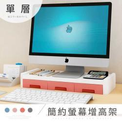 STYLE格調  繽紛馬卡龍色系ABS材質桌上電腦螢幕架-(單層 置物抽屜款)