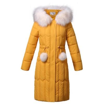 中綿ジャケット レディース ダウンコットン 冬 中綿コート ロング丈 アウター 厚手 ファーフード付き