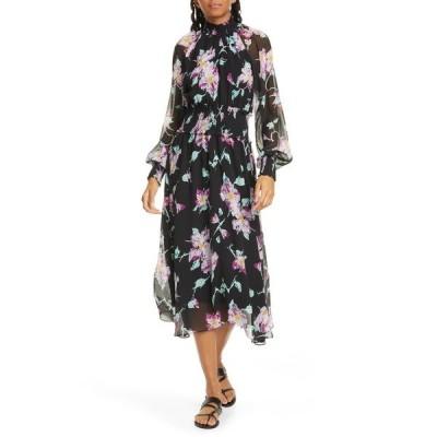 エーエルシー レディース ワンピース トップス Casey Floral Long Sleeve Silk Midi Dress BLACK PURPLE