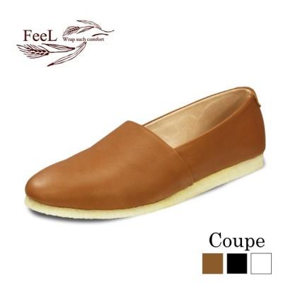 本革 レザー カジュアルシューズ レディース コンフォートシューズ FeeL Coupe コッペ パンプス 柔らかい おしゃれ 可愛い 婦人靴