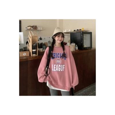 【送料無料】秋冬 文字の印刷 ミディ丈 ピンクのセーター 女 韓国風 ルース 厚 | 346770_A64307-1346141