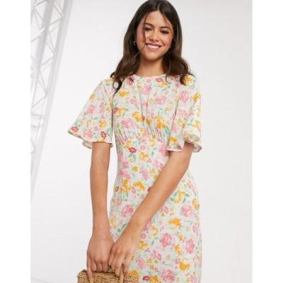 ウェアハウス ミディドレス レディース Warehouse floral print angel sleeve dress in white エイソス ASOS