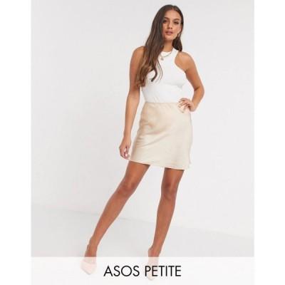 エイソス ASOS Petite レディース ミニスカート スリップスカート スカート ASOS DESIGN Petite mini satin slip skirt in bone ライトベージュ