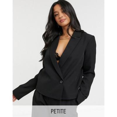 ワイ エー エス Y.A.S Petite レディース スーツ・ジャケット アウター Tailored Suit Blazer With Wrap Over Fastening In Black ブラック