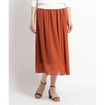COUP DE CHANCE/クードシャンス 【洗える】ギャザーロングスカート キャメル(041) 38(M)