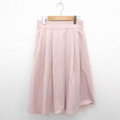 【中古】スカート ギャザー フレア ロング チュール 薄手 無地 シンプル M ピンク /TT25 レディース