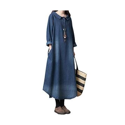 Fout デニム ワンピース レディース ファッション 春 夏 秋 冬 長袖 チュニック ゆったり おしゃれ 体型カバー (XL)