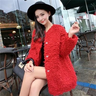 プードルコート秋冬レディースカーディガン秋服冬服おしゃれかわいいジャケットノーカラー黒赤ピンクグレー可愛い