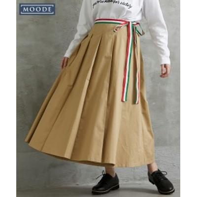 スカート ロング丈 マキシ丈 大きいサイズ レディース 綿100% ラップ風 タック ロング MOODE カーキ/ベージュ LL~10L ニッセン nissen