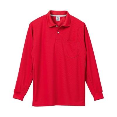 クロダルマ(KURODARUMA) メンズ 長袖 ポロシャツ レッド 25446 作業着 無地 吸汗速乾
